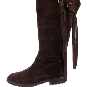 CHANEL Brown Suede Tassel Mid-Calf Boots Size 5
